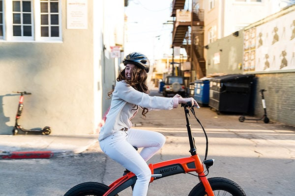lady riding a folding ebike