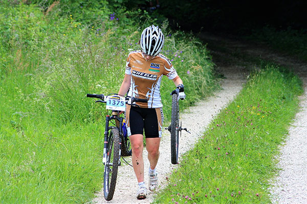 female cyclist wearing bike shorts