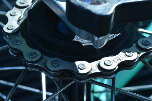 close up of a bike chain