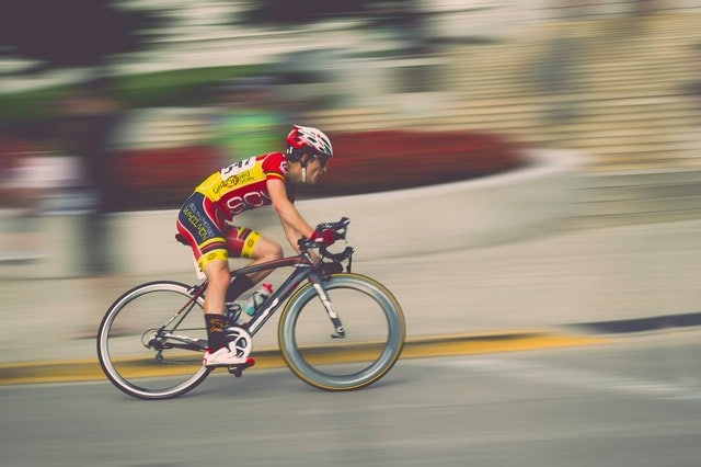 cyclist riding fast